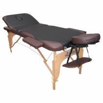 Mesa de Massagem Maca Portátil Fidler 3 Seções - Preta com Marrom -