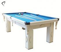 Mesa de Snooker Branca com Pedra Ardósia Tecido Azul - Procópio - Procópio