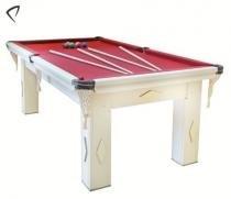 Mesa de Snooker Branca com Pedra Ardósia Tecido Vinho - Procópio - Procópio