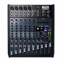 Mesa de Som 8 Canais Balanceados (5 XLR + 3 P10) c/ USB / Efeito / 2 Auxiliares - Live 802 Alto - Alto