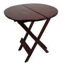 Mesa dobrável redonda em madeira 1m de diâmetro imbuia - My shop brasil