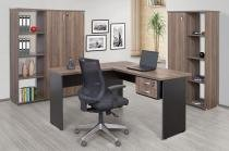 Mesa em L 02 gavetas Preto Larnaca - Minas office