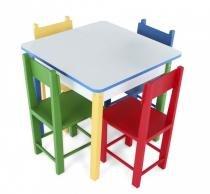 Mesa Infantil com 4 Cadeiras de Madeira e MDF 5017 Carlu - Carlu