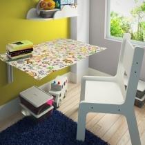 Mesa Infantil Dobrável Suspensa Em MDF De 15 mm E Bordas Arredondadas Com Cadeira Kids - Ides