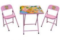 Mesa infantil escolar mesinha dobravel com 2 cadeiras rosa meninas - Metalmix