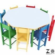 Mesa Infantil Oitavada Com 8 Cadeiras Coloridas 5018 Carlu - Carlu