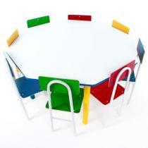 Mesa Infantil Oitavada com 8 Cadeiras de Ferro 1738 2V - Carlu - Carlu