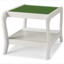 Mesa Lateral 1 Prateleira Marley Maxima Branco/Verde Musgo -