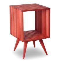 Mesa Lateral Quadrada em Madeira Dominoes Mão e Formão Stain Vermelho -