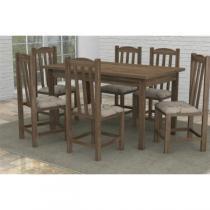 Mesa Madeira Maciça com 6 Cadeiras Rubi Meneghetti Rústico -