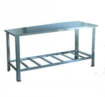 Mesa Manipulação de Alimentos Inteira em Aço Inox com Pés e Paneleiros Reforçados 70x70 - Cristal aço