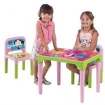 Mesa mesinha infantil escolar com 2 cadeiras show da luna desmontavel - Multibrink