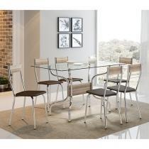 Mesa Móveis Carraro - 388 + Cadeira Aço 6 Peças