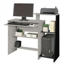 Mesa para Computador Austrália Carvalho Bianco com Preto Móveis Primus -