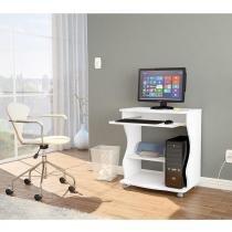 Mesa para Computador/ Escrivaninha Verona com Prateleira - Cor Branco - Politorno