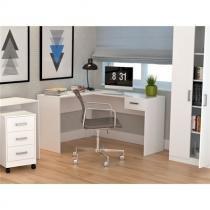 Mesa para Escritório em L com 1 Gaveta Office Plus Appunto - Branco -