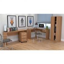 Mesa para Escritório em L com 1 Gaveta Office Plus Appunto - Castanho -
