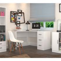 Mesa para Escritório em L com 3 Gavetas Office Plus Appunto - Branco -