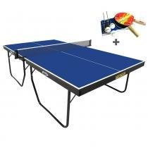 Mesa Ping Pong Oficial Klopf Proton 25 mm Azul + Kit de Raquetes, Bolinhas e Rede -