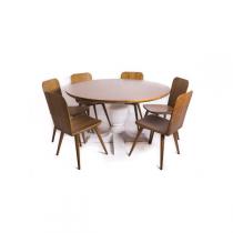 Mesa Redonda Madeira Maciça 1,40 x 1,40 - ( 06 Cadeiras ) - Flávio Móveis Gramado -