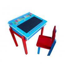 Mesinha com Cadeirinha para Estudo Azul - Criança Feliz -