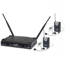 Microfone s/ Fio Duplo Headset / Lapela / Instrumento / UHF - UH 02 HLI HLI Lyco -