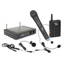 Microfone sem Fio Duplo Mão/Lapela UHF271 - SKP - SKP