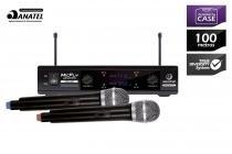 Microfone sem fio duplo waldman uc201fx com 2 bastões -