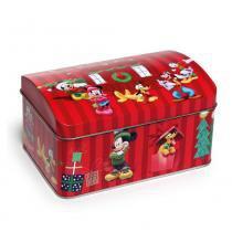 Mini Baú Lata Turma Do Mickey Disney Decoração Natal Vermelha - Cromus