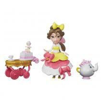 Mini Boneca com Acessórios - Disney Princesas - Little Kingdom - Bela com Carrinho de Chá - Hasbro - Hasbro