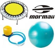 Mini Cama Elástica Power Jump Pula 30 Molas Trampolim SCS 1064 + Bola Gym Ball 55cm Bomba Ar Mormaii 447100 - Scs fitness