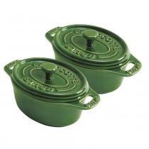 Mini cocotte oval de cerâmica Staub verde 2 peças - 12656 - Staub