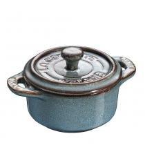 Mini cocotte redonda de cerâmica Staub azul turquesa 10 cm - 24695 -