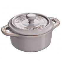 Mini Cocotte Redonda de Cerâmica Staub Cinza Anciant 10CM - 24694 -