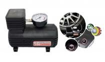 Mini Compressor de 250 PSI - 12V (cx) com adaptadores e bicos diversos - MEGAFORTH