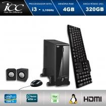 Mini Computador ICC SL2340C3 Intel Core I3 3.10 ghz 4GB HD 320GB DVDRW Kit Multimídia  HDMI FULL HD -