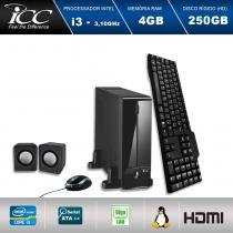 Mini Computador ICC SL2340K2 Intel Core I3 3.10 ghz 4GB HD 250GB Kit Multimídia HDMI FULLHD -