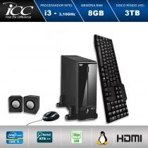 Mini Computador ICC SL2384C Intel Core I3 3.10 ghz 8GB HD 3TB DVDRW Kit Multimídia  HDMI FULL HD -