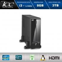 Mini Computador ICC SL2384D Intel Core I3 3.10 ghz 8GB HD 3TB DVDRW HDMI FULL HD -