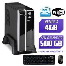Mini CPU Intel Dual Core, 4GB, HD 500GB, Wifi com Kit Teclado e Mouse sem fio Logitech - Alfatec