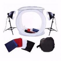 Mini Estúdio Fotográfico Tenda 40cm Com Kit de Iluminação 40x40 PKST-07 220V - Greika