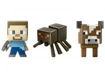 Mini Figuras Minecraft Steve - Aranha e Vaca - Mattel