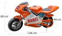 Mini moto 49cc bz r3 laranja automática com partida a corda, gasolina com óleo 2 tempos barzi motors - Barzi motors