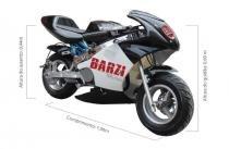 Mini Moto 49cc BZ R3 Preta automática com partida a corda, gasolina com óleo 2 tempos Barzi Motors -