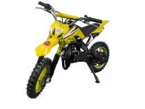 Mini moto cross 49cc bz arena amarela automática partida a corda gasolina óleo 2tempos barzi motors -