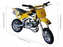 Mini Moto Cross 49cc BZ Fire Amarela automática partida a corda gasolina e óleo 2tempos Barzi Motors - BARZI MOTORS