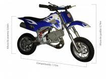 Mini moto cross 49cc bz fire azul automática partida a corda, gasolina e óleo 2tempos barzi motors - Barzi motors