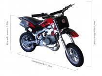 Mini moto cross 49cc bz fire preta automática partida a corda, gasolina e óleo 2tempos barzi motors - Barzi motors