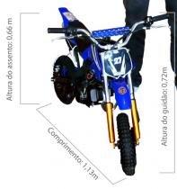 Mini Moto Cross 49cc BZ Vento Azul automática partida a corda, gasolina e óleo 2tempos Barzi Motors -