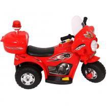 Mini moto eletrica infantil policia 6v 18w vermelha  importway - Importway